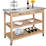 ZENY Natural Wood Kitchen Cart Rolling Kitchen Island Utility Serving Cart w/Stainless Steel Countertop, Drawer, Shelves & Cabinet for Storage Review