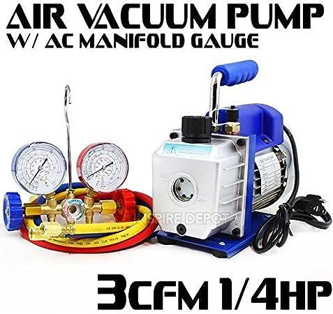 Generic .uge Refrige Manifold Gauge Kit Refrigeration Kit ifo Air Vacuum ir Vacuum PUM Combo 1//4HP 3CFM HP 3CFM A Pump A//C Kit //4H