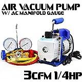 Generic Refrigerat Manifold Gauge Refrigerati Pump A/C Kit Manifold Combo 1/4HP 3CFM Pump A/ Refrigeration Kit 3CFM Air Air Vacuum