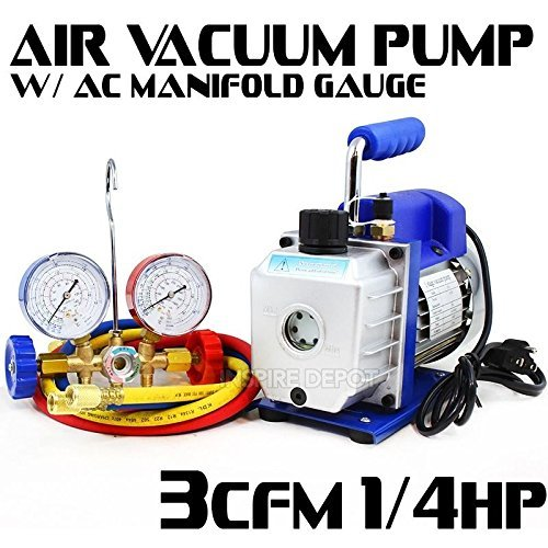 Generic Refrigerat Manifold Gauge Refrigerati Pump A/C Kit Manifold Combo 1/4HP 3CFM Pump A/ Refrigeration Kit 3CFM Air Air Vacuum by Generic