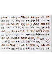 QIANGU Örhängen, 100 par mini plast allergivänliga örhängen lot för barn