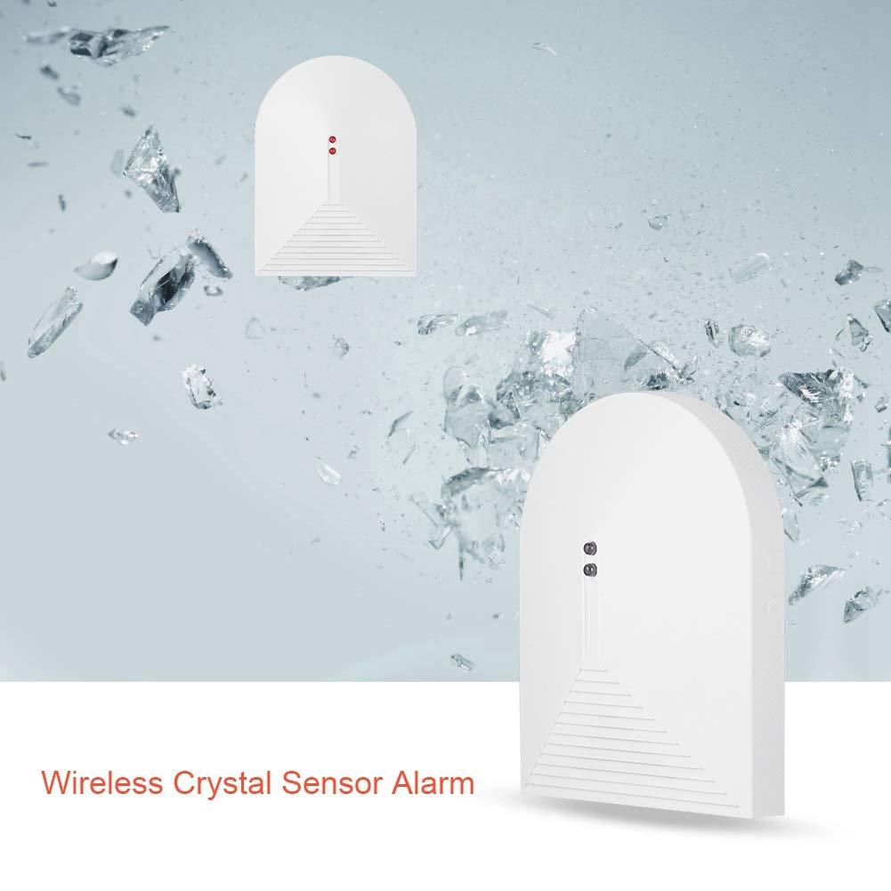 Oficina 433MHz Sensor de Alarma de Cristal Roto Cristal Sistema de Alarma de Seguridad para el hogar para Ventanas y Puertas Detector de Rotura de Vidrio inal/ámbrico