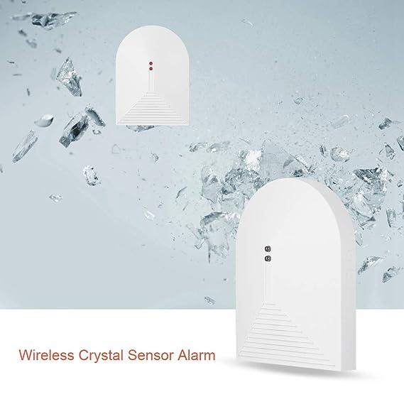 Detector de Rotura de Vidrio inalámbrico - 433MHz Sensor de Alarma de Cristal Roto Cristal, Sistema de Alarma de Seguridad para el hogar para Ventanas y ...