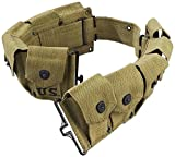 ultimate arms gear belt - Ultimate Arms Gear M-1 Garand Rifle U.S Military WWII Reproduction Od Olive Drab Green 10 Pocket Utility Pouch Cartridge, 30-06 Ammunition Rounds Ammo Tool Heavy Duty Canvas Waist Belt
