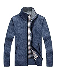 LemonGirl Mens Zip Thick Knitted Cardigan Sweater with Pockets