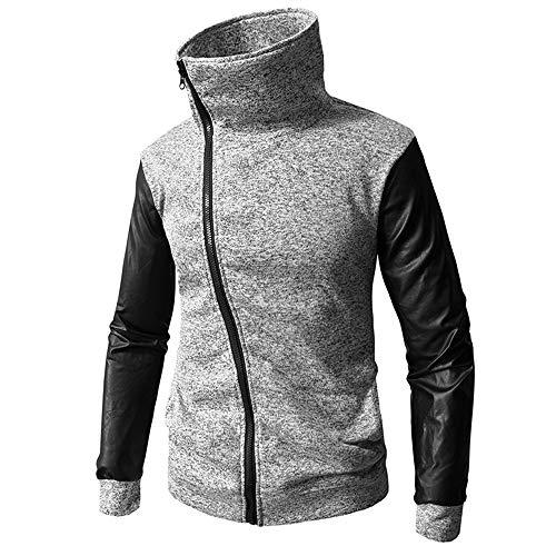 (Toimothcn Men's Full-Zip Sport Coat Jacket Autumn Winter Casual Long Sleeve Solid Zipper Hooded Sweatshirt(Gray,XL))