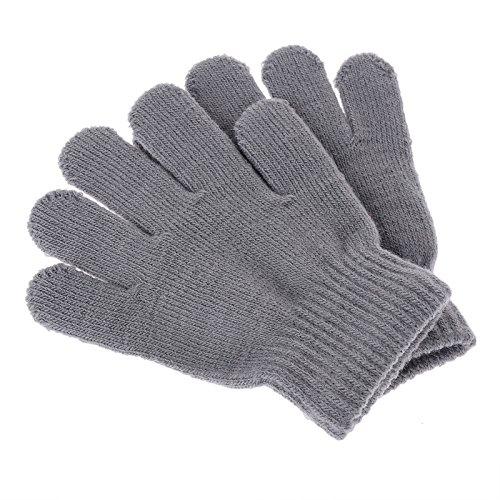 Child Grey Gloves (Pinksee Kids Boys Girls Winter Warm Stretchy Knitted Magic Gloves Gray One Size)