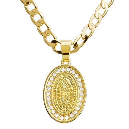 Men's Fashion Iced Out Oval Virgin Mary Guadalupe Pendant 20