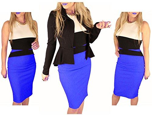 Vincenza Promi Stil Damen Midi Enganliegend Blau Bleistift Abend Schlankmachend Bahnenkleid - Blau, 2-3% difference design100% brand, Damen, M (8-10)