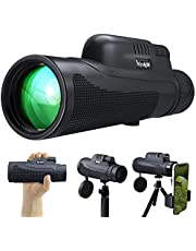 Monocular Telescope, 12X50 HD High Power Dual Focus Scope for Adults, BAK4 Prism & FMC Waterproof Monocular with Phone Holder & Tripod for Outdoor Bird Watching, Camping, Hiking,Travelling