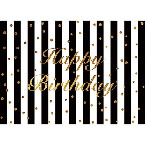 Allenjoy 7x5ft White Black Stripe Happy Birthday Party Decoration Photography Backdrop Studio Props Glitter Gold Golden Custumized Background Photo Booth