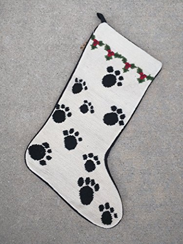 Best Large Paw Print Dog Lover Fan Owner Needlepoint & Velvet Christmas Stocking Unique Clever Novelty Silly Fun Rescue Mutt Gift Idea (Rescue One Cds Harness compare prices)