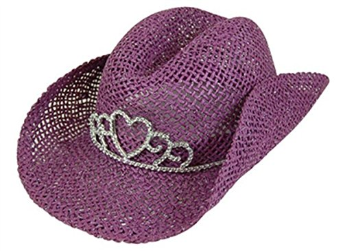 (Handwoven Kids Straw Sparkly Cowboy Hat, Girls Costume Tiara Cowgirl Party Hat)