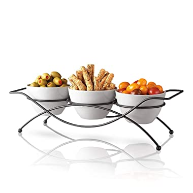 Ceramic Serving Bowls with Metal Rack - Round White Bowls Party Display Set for Serving Snacks, Appetizers, Candy, Nuts and Dips