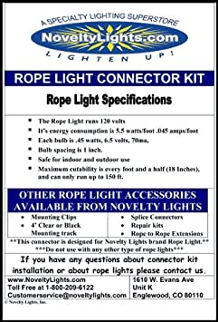 Amazon 6 rope light connector kit for 2 wire 12 diameter amazon 6 rope light connector kit for 2 wire 12 diameter 120 volt rope includes 1 power and 1 end cap home kitchen mozeypictures Choice Image