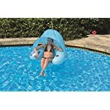 "40.5"" Blue Inflatable Swimming Pool Water Sofa Lounge Chair with Shade Canopy"