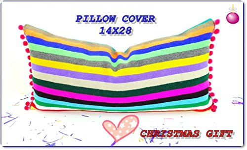 Mexican embroidered pillow, Tribal pillow, Mexican Blanket Pillow, Lumbard pillow, Pillowcase aztec, Boho room Decor, Cinco de Mayo,14x28 by MexFabricSupplies