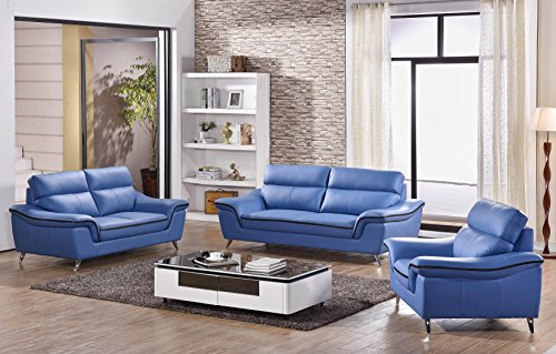 Elin Leather Sofa Set (Blue)