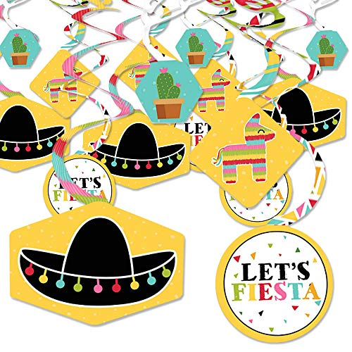 Let's Fiesta - Mexican Fiesta Hanging Decor - Party Decoration Swirls - Set of 40 -