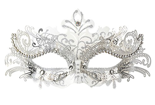 [Masquerade Mask Shiny Metal Rhinestone Venetian Pretty Party Evening Prom Mask(White)] (Venetian Carnival Masks)