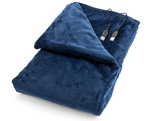 Blanket Heated Battery (Convenient Gadgets & Gifts USB Heated Shawl and Lap Blanket - Blue Color - USB Heated Throw Perfect Alternative to a Mini Office Desk Heater)