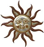 Premium LARGE 31.25'' Beautiful Garden Farmhouse Sun Face Outdoor Patio Wall Hanging with Galvanized Face (31.25'' Galvanized & Rustic Metal Sun)