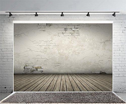 Leyiyi 8x6ft Photography Background Vintage Grunge Wall Backdrop Concrete Peeling Crack Wooden Floor Rock Music Ball Vlogger Halloween Study Wallpaper Summer Party Photo Portrait Vinyl Studio Prop