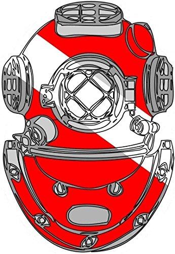 MFX Design Scuba Diving Diver Helmet Bumper Sticker Decal Toolbox Sticker Decal Lunch Box Laptop Sticker Decal Vinyl - Made in USA 4 in. x 3 in. (Scuba Diver Sticker)