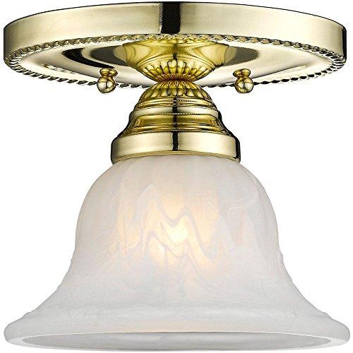 Livex Lighting 1530-02 Edgemont - One Light Semi-Flush Mount, Polished Brass Finish with White Alabaster Glass - Light 2 Edgemont