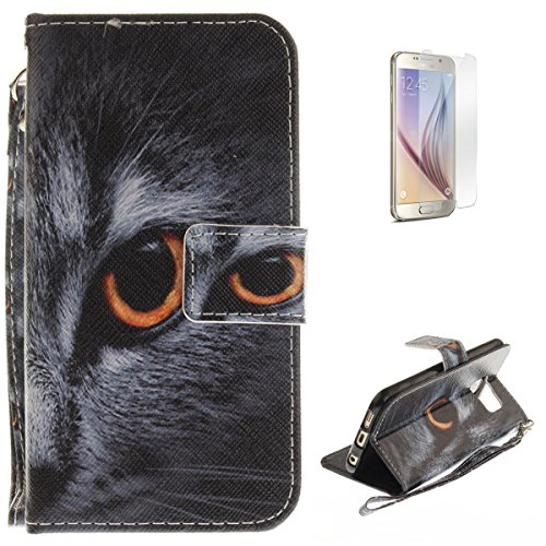 Samsung Galaxy S6 Flip Magnetic Leather Case [Free Screen Protector] KaseHom Half Face Cat Animals Painted Design Folio Wallet Case with [Card Slot] [Hand Strap] Slim Protective Cover Holster -