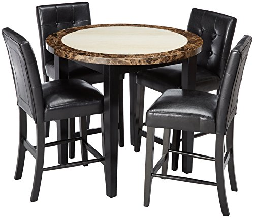 247SHOPATHOME IDF-3188PT-40-5PC Dining-Room-Sets Black