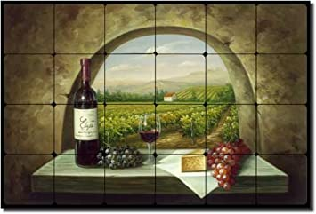 Vineyard View Tuscan Vineyard Tumbled Marble Tile Mural 16 Quot X 24 Quot Kitchen Backsplash