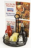 Set of 10, Wrought Iron Tabletop Condiment Stand With Menu Clip, 7-3/4 x 9 x 5-1/2-Inch, Flat Side Birds Nest Design