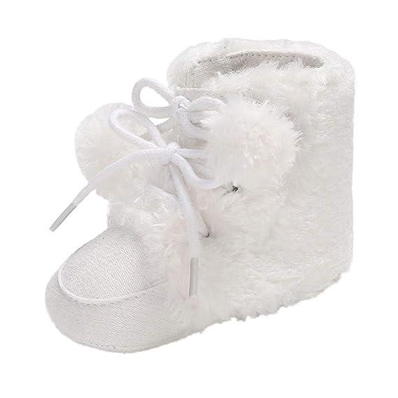 Zapatos Bebe Invierno, ❤ Zolimx Bebé Chica Niño Suave Botines Pelo Bola Vendaje Nieve Botas Niña Niño Caliente Zapatos: Amazon.es: Ropa y accesorios