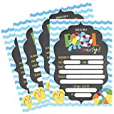 50 Blue Summer Swim Pool Party Invitations for Children, Kids, Teens & Adults, Summertime Birthday Celebration Invitation Cards, Boys & Girls Pool Party Supplies, Family BBQ Cookout Fill in Invites