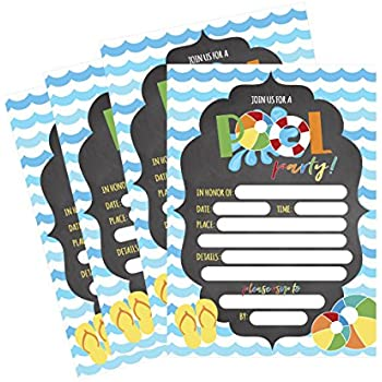 Amazon.Com: Pool Party Invitations Party Accessory: Toys & Games