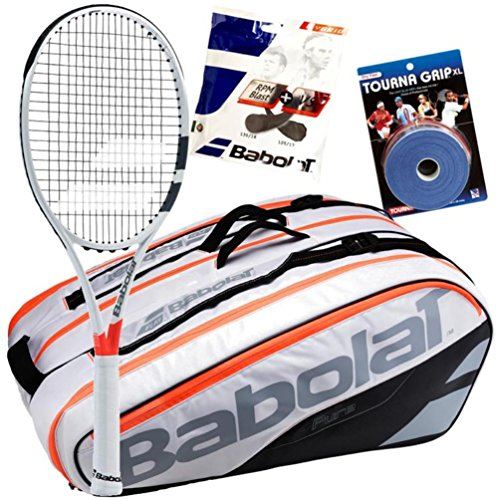 Dominic Thiem Babolat Tennis Racquet, Bag, String and Overgrip Bundle Pack (Grip Size 4 1/8-inch)