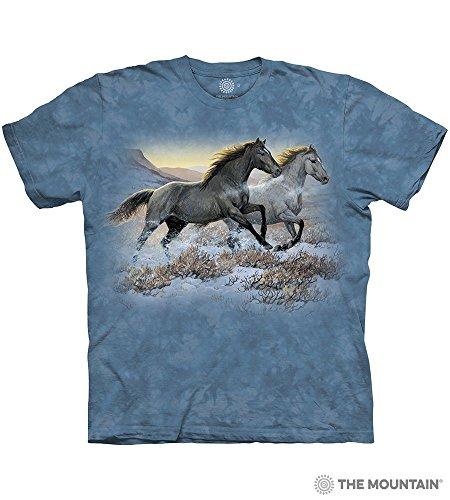 - Tuff America Running Free Large Cotton Horses T-Shirt Cornflower Blue Adult Men's Women's Short Sleeve T-Shirt