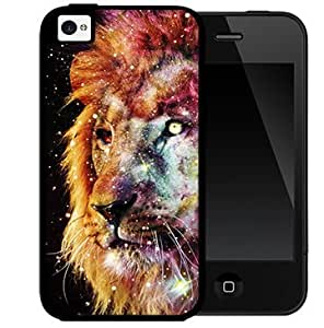 Trippy Nebula Lion (iPhone 5/5s) 2-piece Dual Layer High Impact Black Silicone Cover Case
