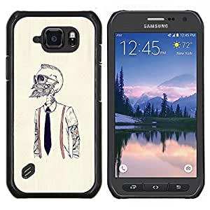 LECELL--Funda protectora / Cubierta / Piel For Samsung Galaxy S6Active Active G890A -- Hipster Bearded Esqueleto --