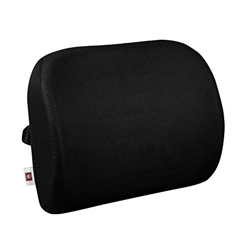 LoveHome Memory Foam Lumbar Cushion Back Support Pillow –Ergo Orthopedic Design for Back Pain Relief, Protect Back and Improve Posture, Idea Back Supporter with Adjustable Triangle Straps, Black