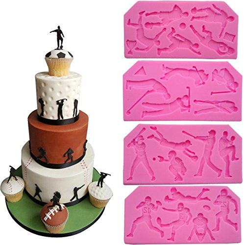 WYD 4 Pcs Football Rugby Baseball Golf Fondant Cake Decorating Cookie Making Tool Sugarcraft Soap Silicone Mold For Chocolate Candy Mold