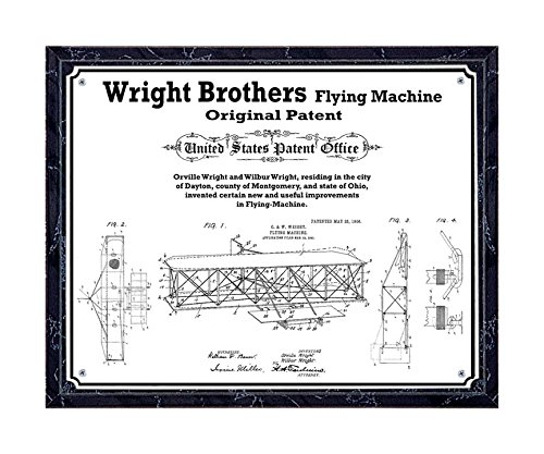 JS Original Wright Brothers flying machine patent printed on metal plate, mounted on black marble-finish wooden plaque