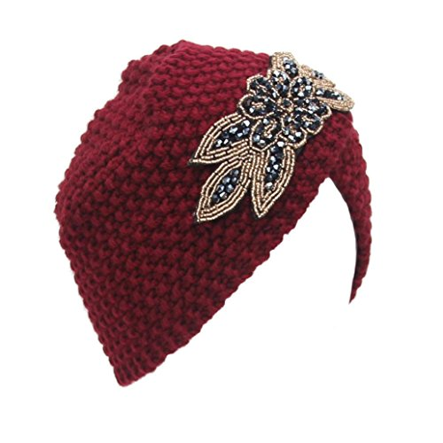 Diamond Knit Hat (Haoricu Women Hat, Fashion Womens Winter Warm Diamond Knit Crochet Hat Braided Headdress Cap (Red))