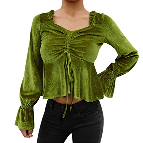(Usstore  Women Short Navel Top Sexy Noble Square Collar Flare Sleeve Ribbons Ruched Ruffles Drawstring Bandage Splice Tee (L, Green) )