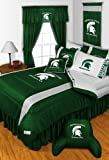 Michigan State Spartans QUEEN Size 14 Pc Bedding Set (Comforter, Sheet Set, 2 Pillow Cases, 2 Shams, Bedskirt, Valance/Drape Set - 84 inch Length & Matching Wall Hanging) - SAVE BIG ON BUNDLING!