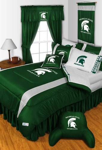 Michigan State Spartans 4 Pc KING Comforter Set, 1 Shower Curtain & Bonus 4 Pc Towel Set - Entire Set Includes: (1 Comforter, 2 Shams, 1 Shower Curtain, 1 Bedskirt, 2 Bath Towels, 2 Hand Towels) SAVE BIG ON BUNDLING! by Sports Coverage