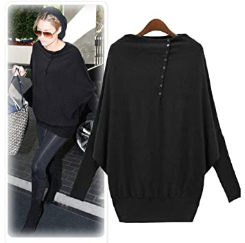 Amazon.com : Women's Batwing Sleeve Long-sleeve Loose Sweater ...