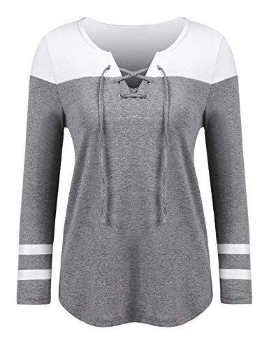 7efa307a Dealwell Women's Lace Up Long Sleeve Top Raglan Baseball Tee Colorblock Striped  Shirt
