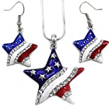 USA American Flag Stars Patriotic 4th of July Independence Day Pendant Necklace & Dangle Earrings Set